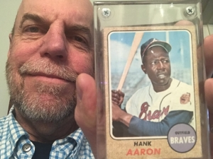 Image of Charlie Thompson and Hank Aaron baseball trading card.