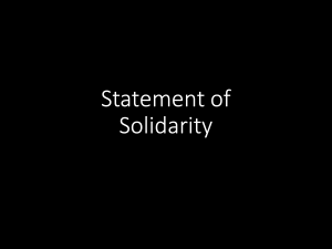Black rectangle with white text Statement of Solidarity